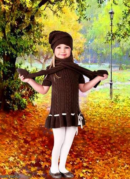 Child's psd template - Walk in an autumn park