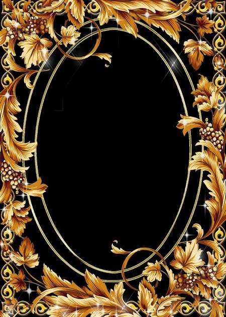 Psd Frame for Photo - Gold decorative patterns