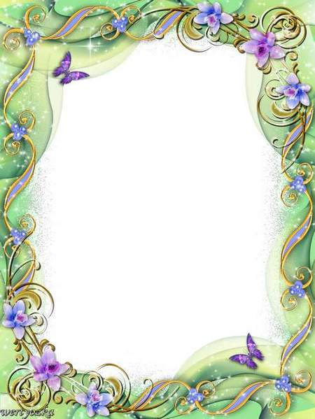 Floral Psd frame for photo in tender-green tones