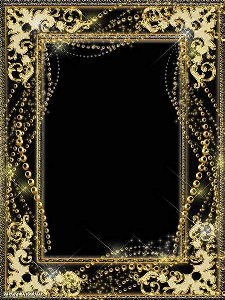Golden Frame psd for Photoshop - Gold beads