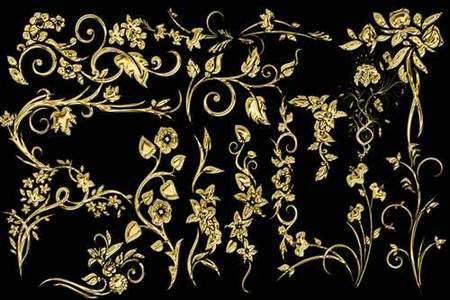 Free Golden Decorative elements download - psd clipart for photoshop (transparent background)