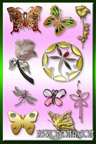 Glamour Butterflies png, Roses png & Angels png - free jewelry 74 png images