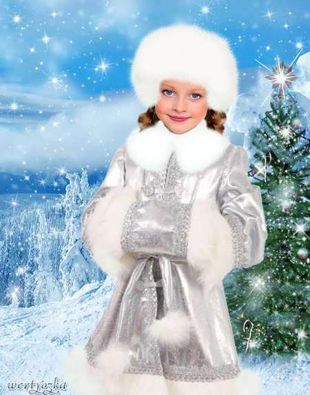 Child's template - Little snow Maiden at a fir-tree