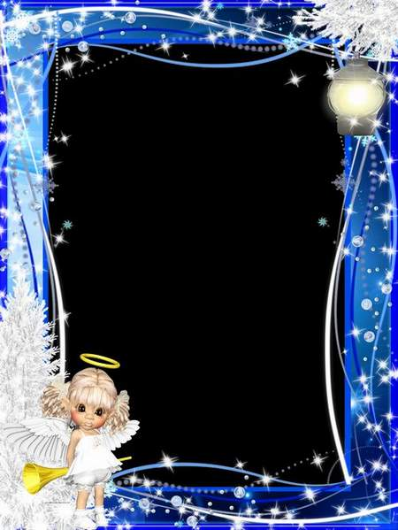 New-year frame for Photoshop - Charming angel