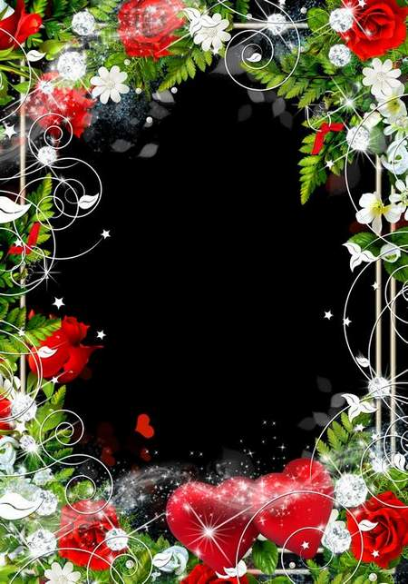 A romantic frame is decorated with red roses - Two lovers heart