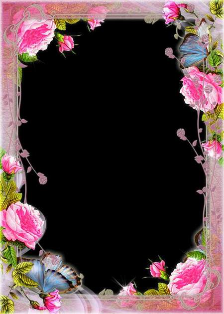 Flower Frame for Photo download - Rose Touch (free frame psd)