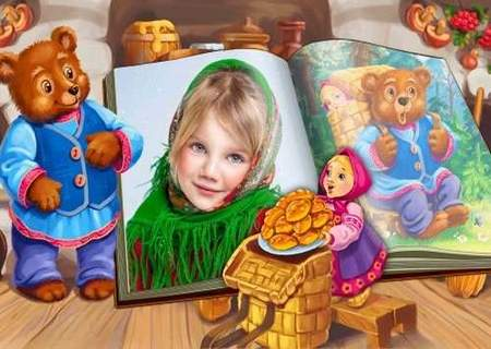 Children frame for Photoshop download - Masha and the bear (free frame psd)