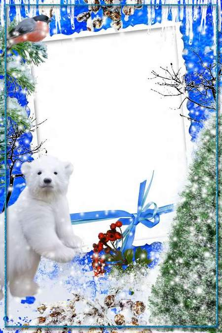 Winter Frame for Photoshop - With a polar bear (free frame psd + free frame png)