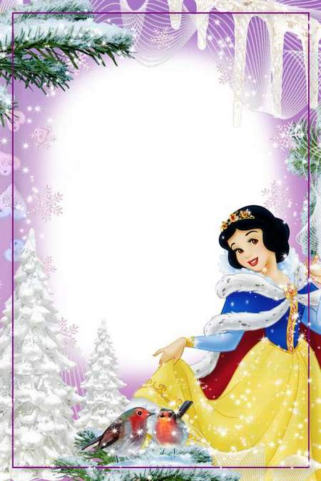 Winter frame for photoshop girls - From Snow White (free frame psd + free frame png)