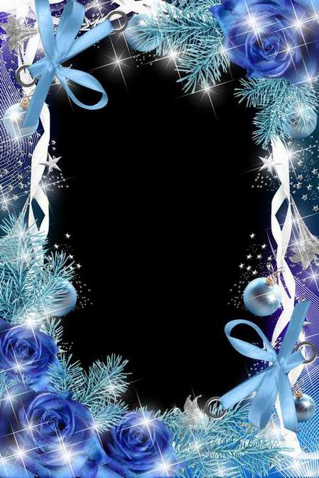 Christmas Frame for Photoshop - Blue Frost (free frame psd + free frame png)
