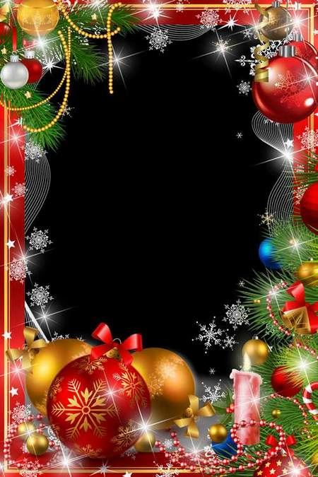 Christmas Frame for Photoshop - perfect holiday (free frame psd + free frame png)