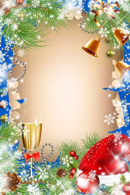 Christmas Frame for Photoshop - Gala evening (free frame psd + free frame png)