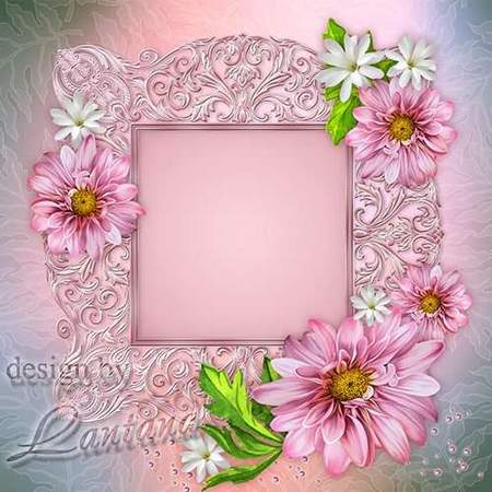 Flower photoshop frame in pink style - free multilayer psd frame download
