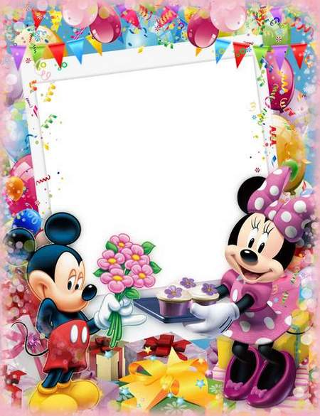 Happy birthday with Mickey and Minnie mouse - children's birthday frame psd download