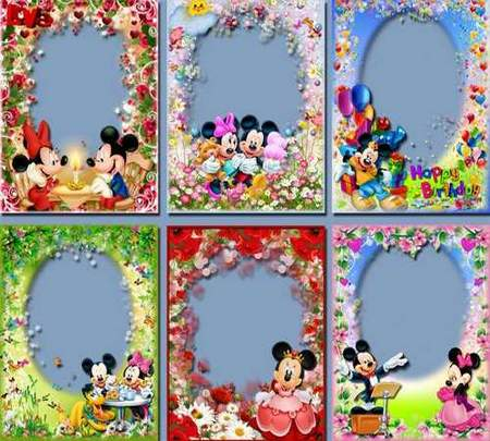 Collection frames png with Mickey Mouse - free 13 frames png download