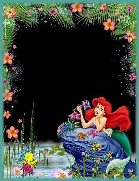 Children's frame with the water-nymph Ariel № 6 (free frame psd)