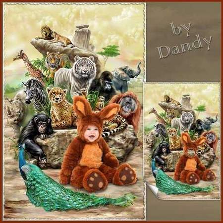 Photoshop costume for baby boy - Brown Bunny with friends (free psd file)