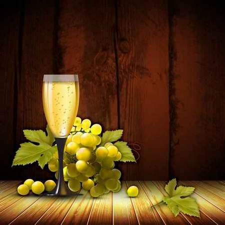 Free backgrounds psd download - glass of wine and grapes (layered psd)