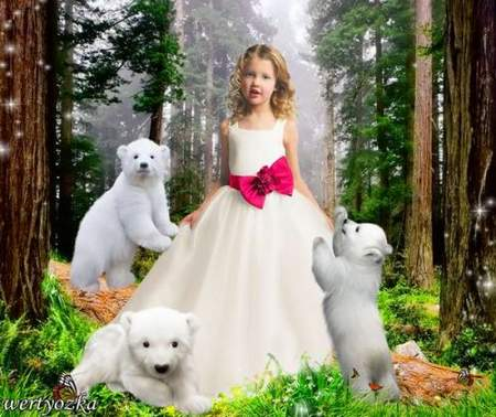 Child's psd template is Girl with the bear-cubs