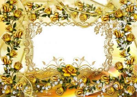 Golden Roses photoshop frame download