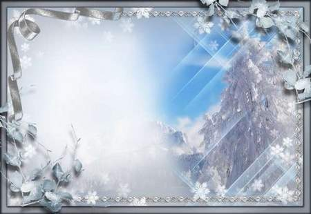 Frame for Photoshop - Winter story ( free psd + png frame download)