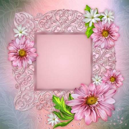 Flower photoshop frame in pink style