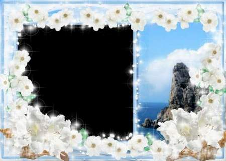 The Frame for Photoshop - The sky,  the sea, the clouds (free frame psd + free frame png)