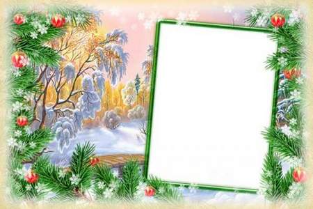 Winter collage frame for Photoshop - Winter Landscape (free frame psd + free frame png)