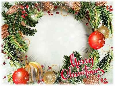 Greeting photo frame psd Merry Christmas