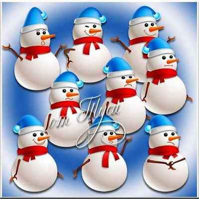 Clipart psd snowmen - free psd (9 layers, transparent background)