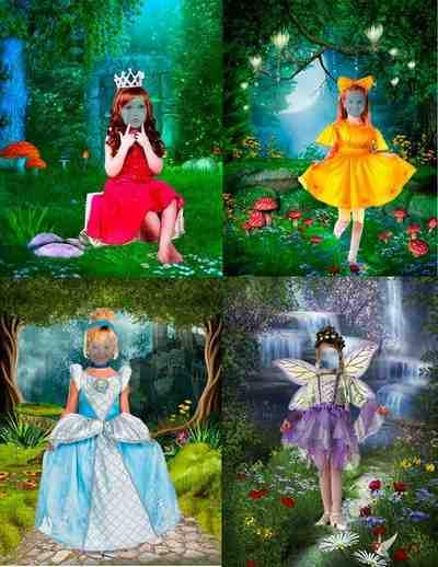 Kids girls in dresses psd Fairy Princess - free 4 psd file free download