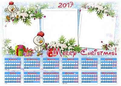 Calendar 2017 Happy New Year and Merry Christmas ( free Calendar psd )
