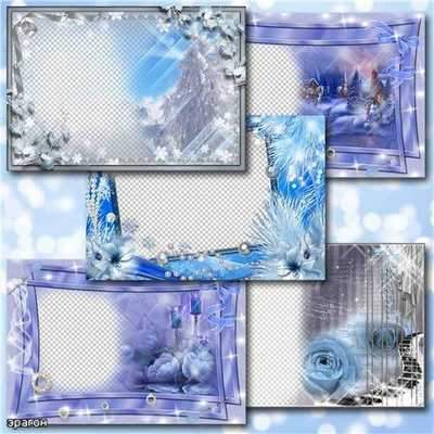 Winter photo frames - free 5 Winter frames png + psd download