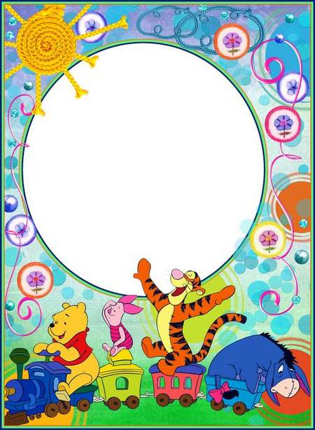 Child`s frame - Winnie and friends. Merry train