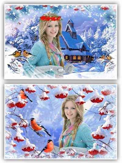 Nature Photoshop frame collage - Winter ( free 2 frame psd, free download )