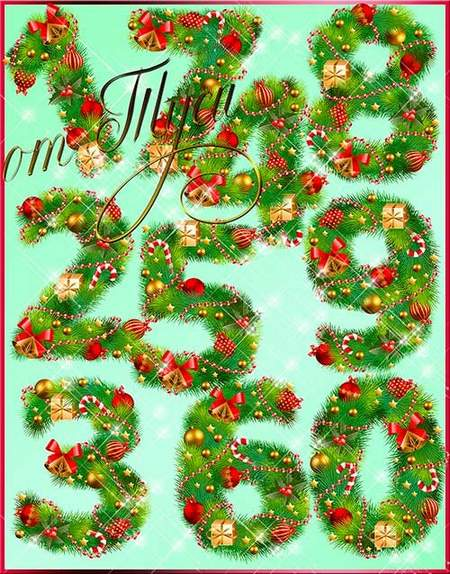 Christmas numbers clipart psd