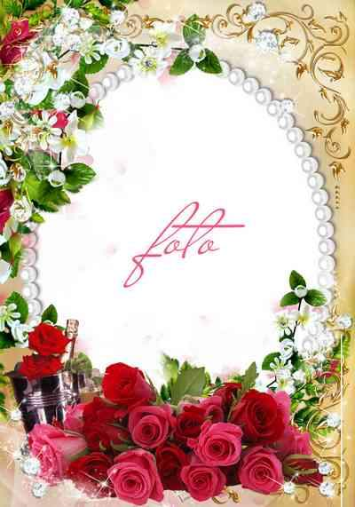 Flower frame psd for photo with champagne - Amid lush roses ( free frame psd, free download )