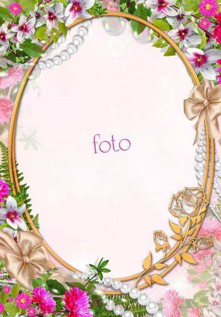 Flower frame psd with orchids, pearls and a gold oval frame ( free frame psd, free download )