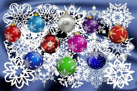 Clipart psd Christmas snowflakes and balls ( free Clipart psd, free download )