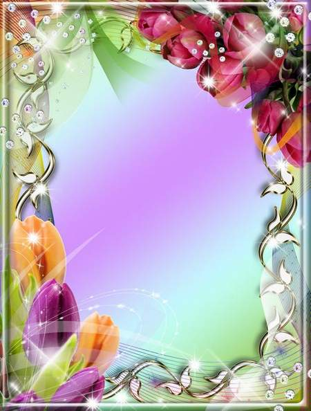 Free psd Frame for photo - Beautiful tulips ( free frame psd, free download )