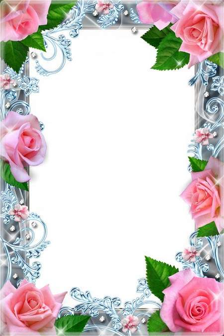 Flower frame for a photoshop - As these roses are beautiful