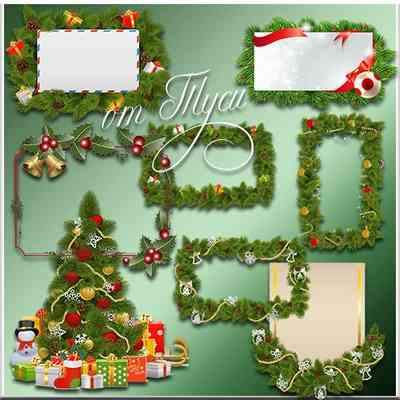 Christmas frames psd of fir branches with Christmas toys ( free frames psd, free download )