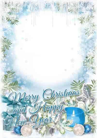 Merry Christmas and Happy New Year - greeting photo frame psd ( free frame psd, free download )