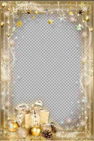 New Year Frame psd - Golden Gift ( free frame psd, free download )