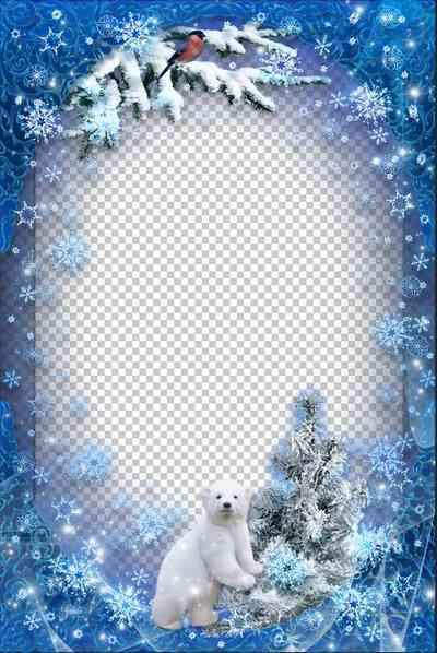 New Year Frame - Snowy Winter photo frame psd ( free frame psd, free download )