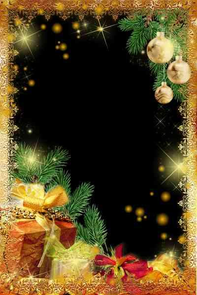 Photoshop Frame - Gold gifts for New Year ( free photo frame psd + free photo frame png)
