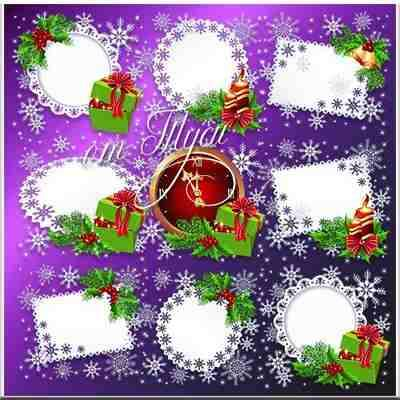 Christmas frames psd with snowflakes  ( free frames psd, free download )