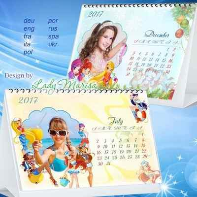 2017 Loose-leaf calendar psd with Winx ( free Calendar 12 psd files, free download )
