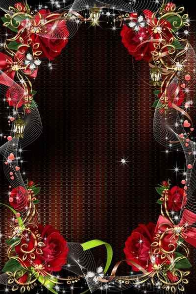 Frame with roses psd - You as a rose scarlet gently blossom, you tempt with the beauty of all ...