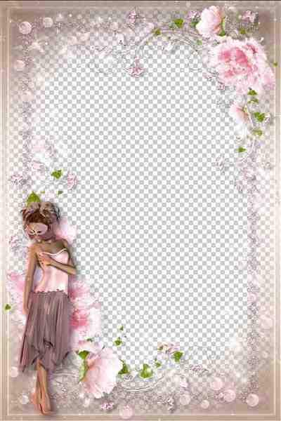 Tender Romantic Frame — Pink Flower Fairy ( free photo frame psd, free download )